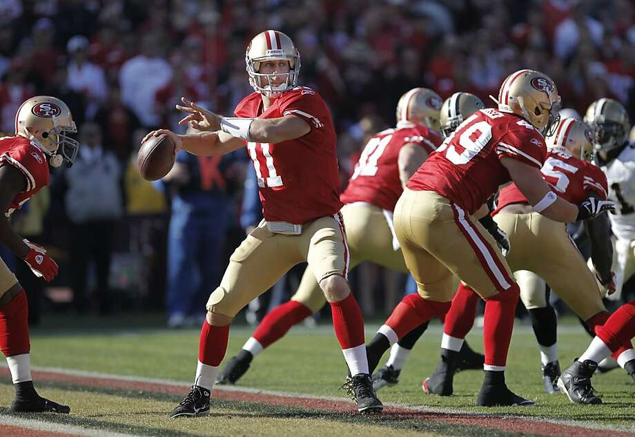 49ers' quarterback, Alex Smith looks to throw in the first half, as the San Francisco 49ers take on the New Orleans Saints in the NFC divisional playoffs, on Saturday Jan. 14, 2012,  in San Francisco, Ca. Photo: Michael Macor, The Chronicle