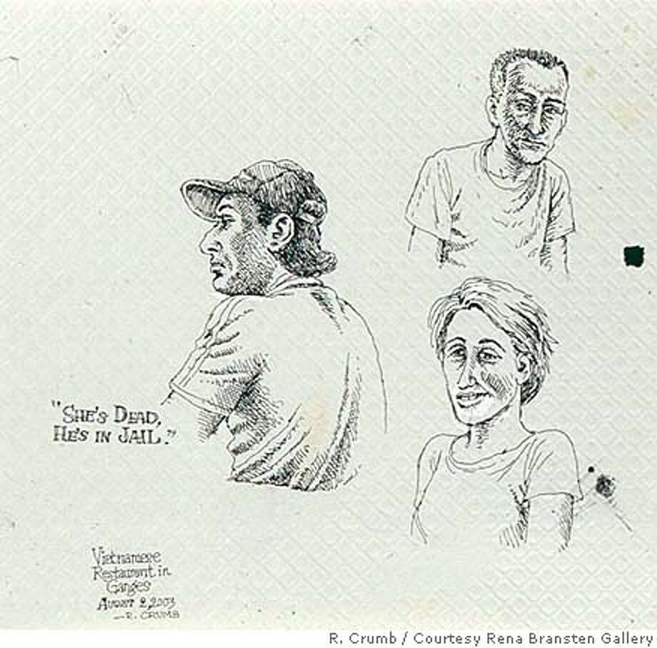 """""""She�s Dead, He�s in Jail,"""" shows the mellow side of R. Crumb.  Credit: R. Crumb/Rena Bransten Gallery Photo: R. Crumb/Rena Bransten Gallery"""