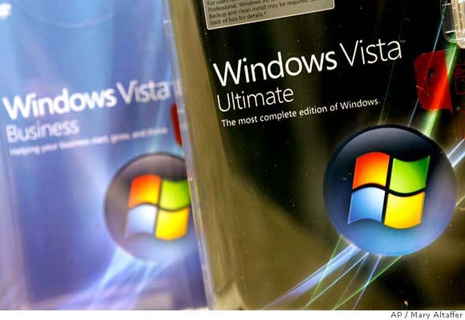 Different editions of the Windows Vista computer operating system are on display at a store in Midtown Manhattan Tuesday, Jan. 30, 2007 in New York. Vista went on sale in 70 countries Tuesday, along with new versions of Microsoft Exchange e-mail software and the flagship Office business suite, which includes Word, Excel and PowerPoint. (AP Photo/Mary Altaffer) Photo: Mary Altaffer