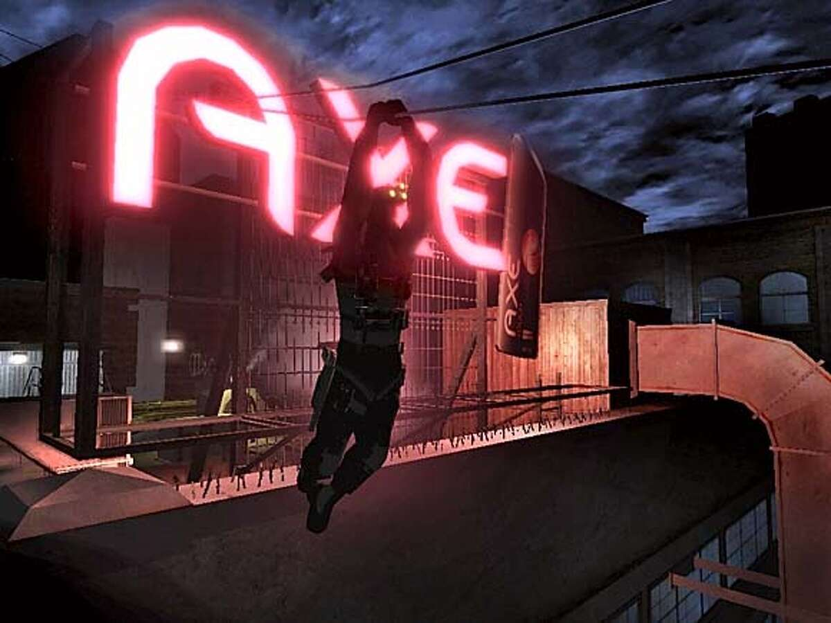 ADS25_ph1.JPG Sam on AXE sign Static ad in Splinter Cell Chaos Theory Courtesy UBISOFT