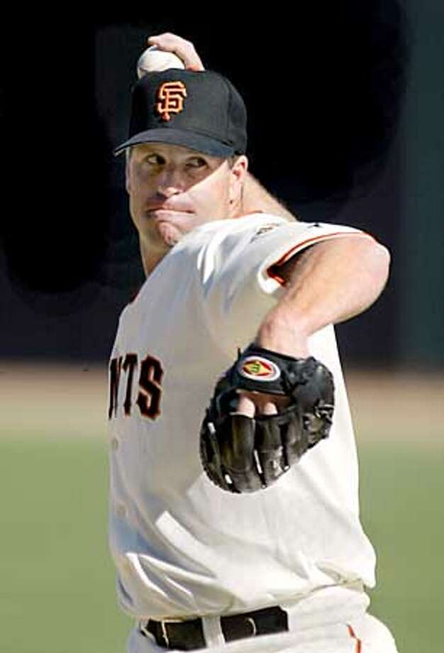 Giants' pitcher, Tim Worrell took the win for the Giants' opening day game at Pacific Bell Park on Monday, April 7, 2003, in San Francisco, Ca.  (CARLOS AVILA GONZALEZ/SAN FRANCISCO CHRONICLE) Photo: CARLOS AVILA GONZALEZ