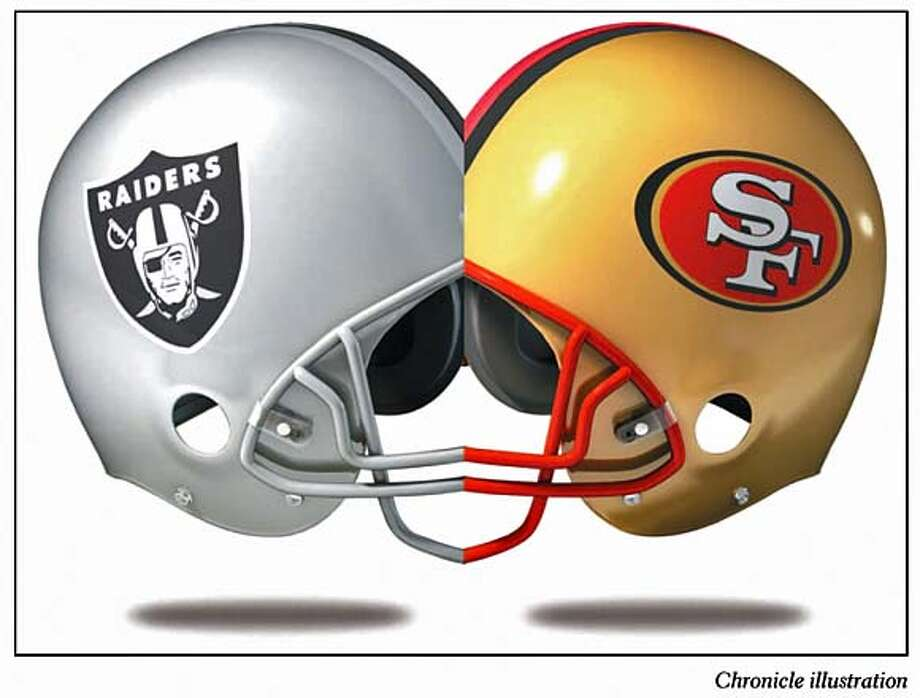 49ers may be looking to team with Raiders on a joint stadium. Chronicle Illustration