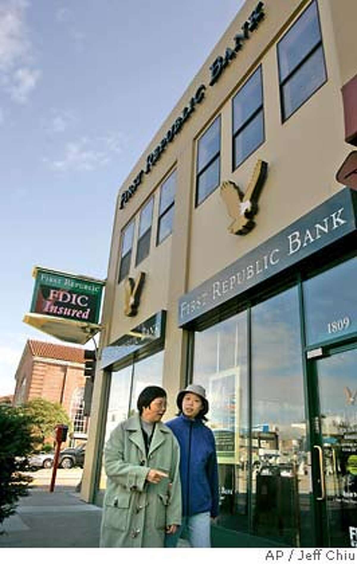 A First Republic Bank is photographed in San Francisco, Monday, Jan. 29, 2007. Merrill Lynch & Co., the biggest U.S. retail brokerage, said Monday it will buy San Francisco-based wealth manager First Republic Bank for $1.8 billion in cash and stock. (AP Photo/Jeff Chiu)