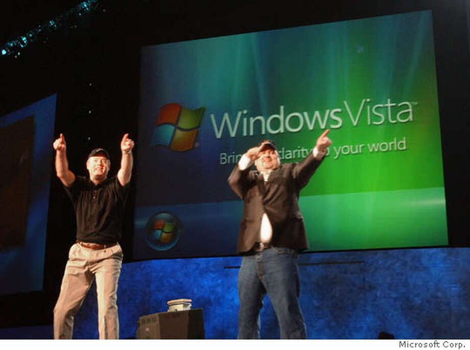 Brian Valentine, Senior Vice President, Windows Core Operating System Division and Kevin Johnson, Group Vice President, Worldwide Sales, Marketing and Services announce Windows Vista at the Microsoft Global Business Conference in Atlanta, Ga., on Thursday, July 21, 2005. Microsoft Corp. dropped the code name Longhorn on Friday,July 22, 2005, announcing the next version of its flagship Windows operating system will be called Windows Vista. (AP Photo/HO/Microsoft) Ran on: 07-23-2005  Microsoft executives Brian Valentine (left) and Kevin Johnson announce Windows Vista at a conference in Atlanta on Thursday.