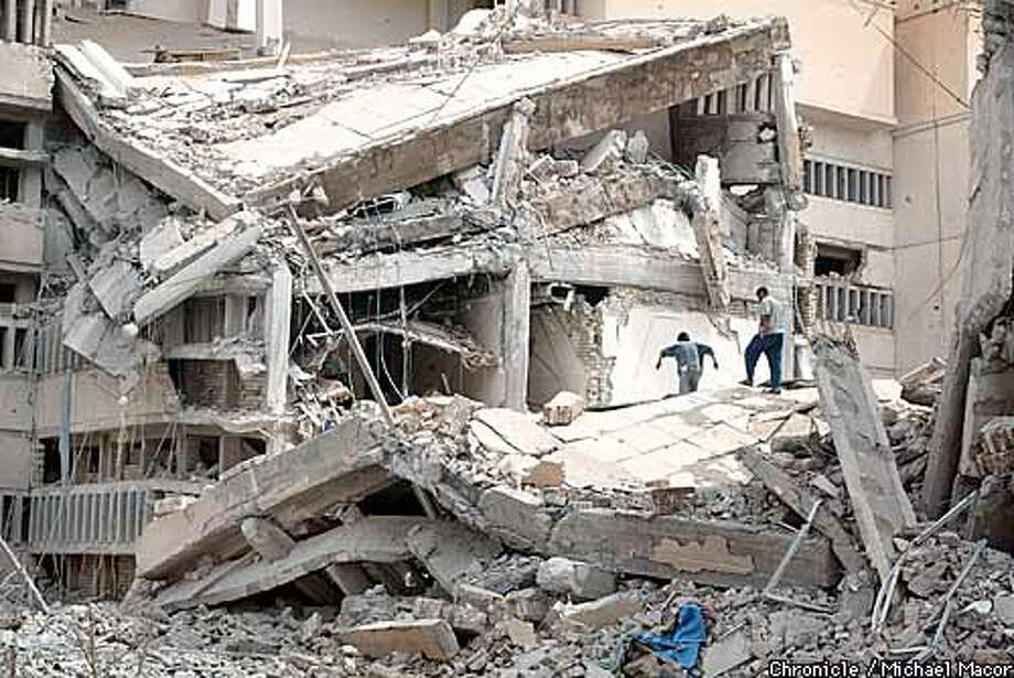 A major target for US airstrikes was the headquarters building of the Mukhabarat, the Iraq Itelligence Service. Many of the buildings were completely destroyed. Looters finished off the rest, grabbing anything of value. by Michael Macor/The Chronicle Photo: MICHAEL MACOR