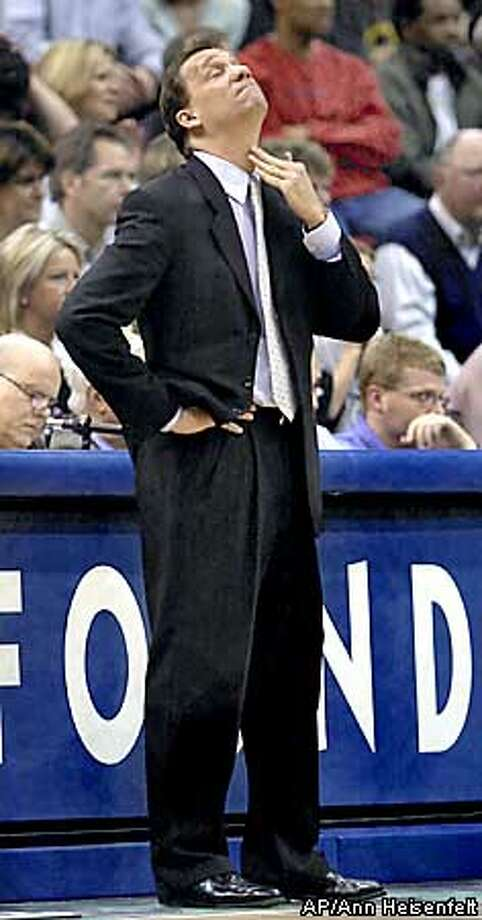 Minnesota Timberwolves head coach Flip Saunders reacts after looking at the score board during the third quarter of Western Conference playoffs against the Los Angeles Lakers in Minneapolis, Sunday, April 20, 2003. The Timberwolves lost, 117-98. (AP Photo/Ann Heisenfelt) Photo: ANN HEISENFELT