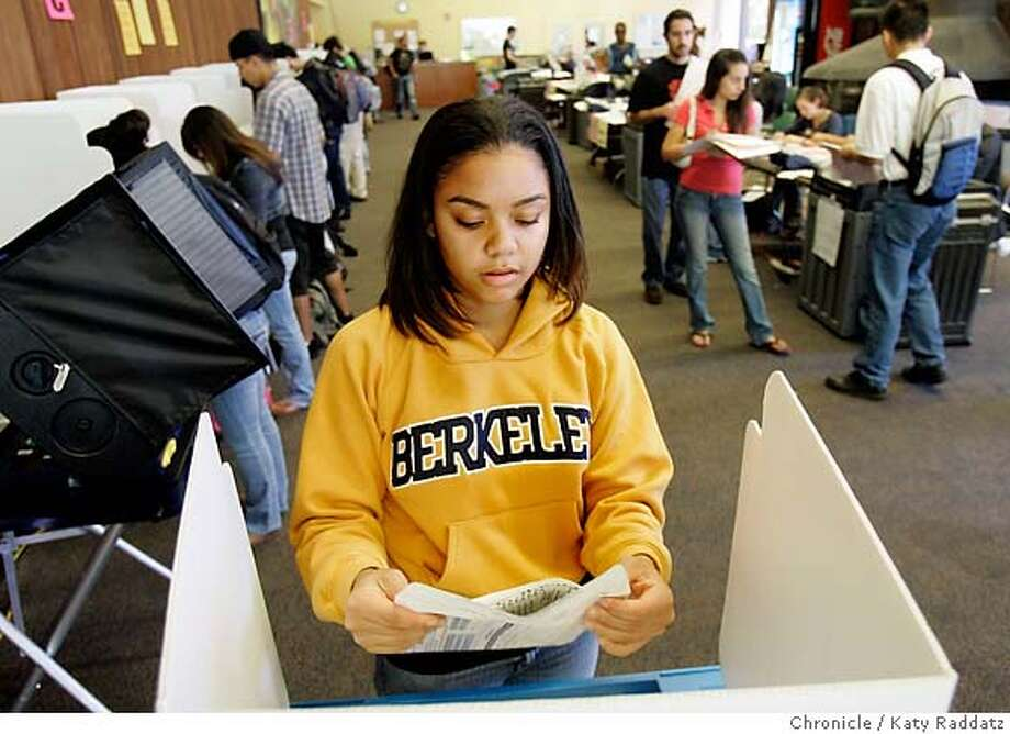 Lisa Hartley votes at UC Berkeley's Heller Lounge in November, when just 39 percent of eligible Californians voted. Chronicle file photo, 2006, by Katy Raddatz
