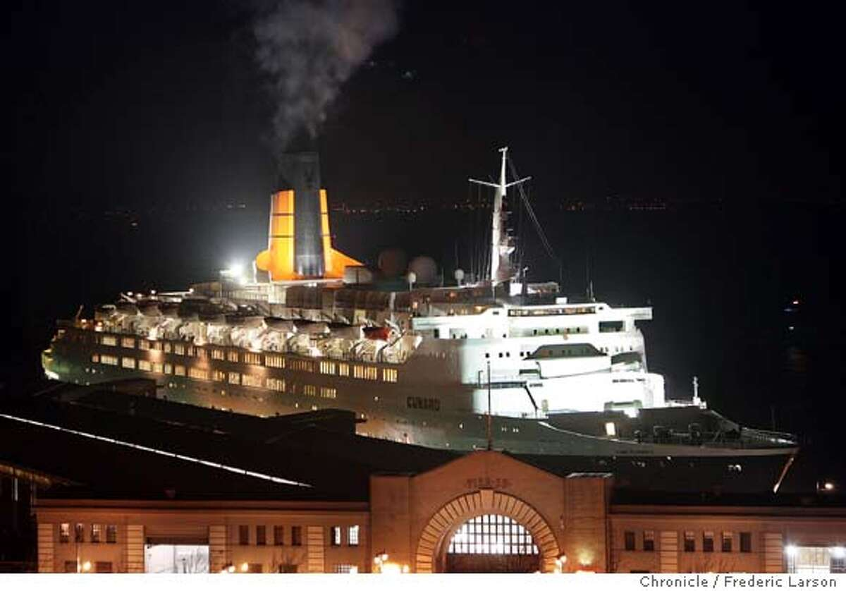 Queen Mary 2 - the grandest, most magnificent ocean liner ever built slipped under the Golden Gate and into Pier 35 this morning until it sail out at 10pm tonight.. 1/24/07 {Photographed by }