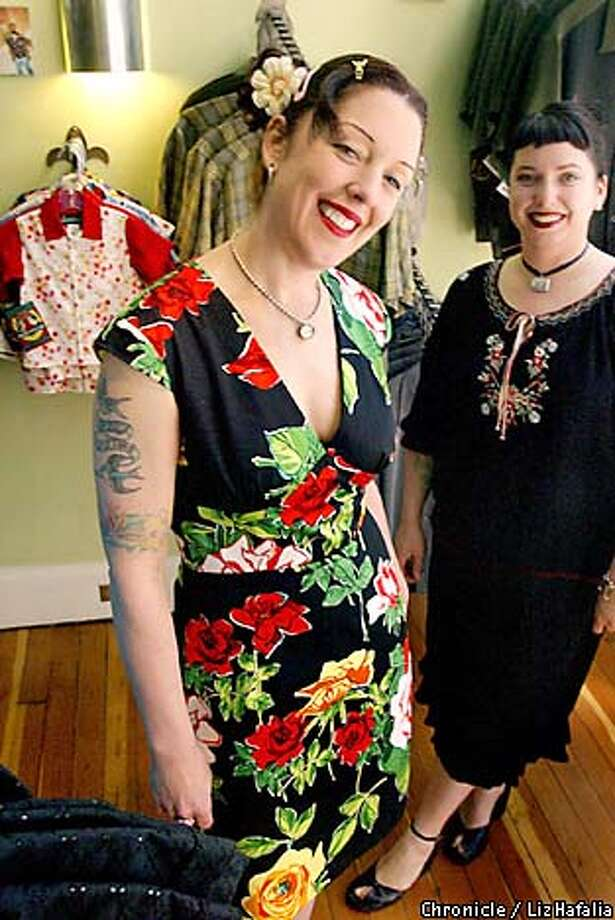 Manifesto owners and designers Sarah Franko (foreground) and Suzanne Castillo create clothing for women who have hips. Chronicle photo by Liz Hafalia