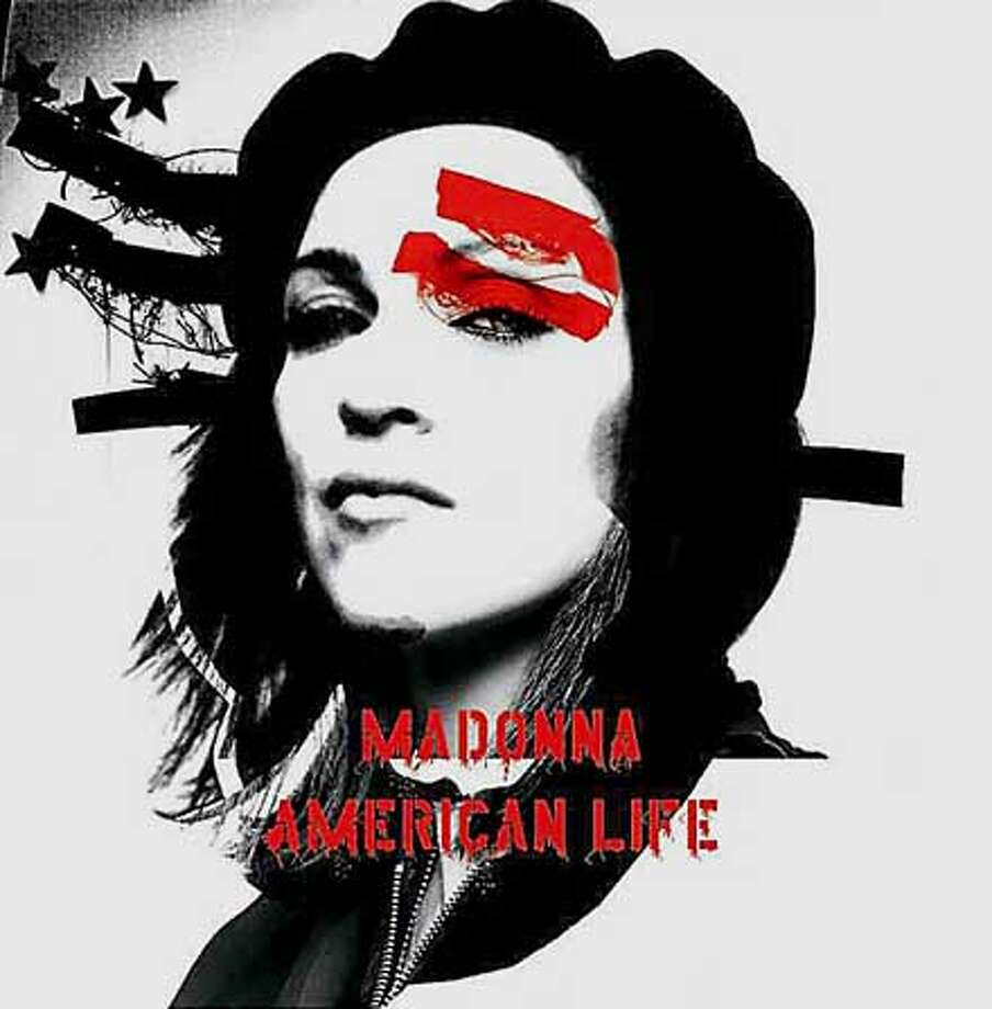 "The cover art for ""American Life"", singer Madonna's new album, is pictured in this undated publicity photograph. The album is due for release April 22, 2003 by Warner Bros. Records. Madonna announced March 31 that she was pulling the music video produced to accompany the single ""American Life"" from the album from release ""out of respect "" for the United States armed forces in Iraq. REUTERS/BusineesWire Photo/Warner Bros/Handout Photo: HO"