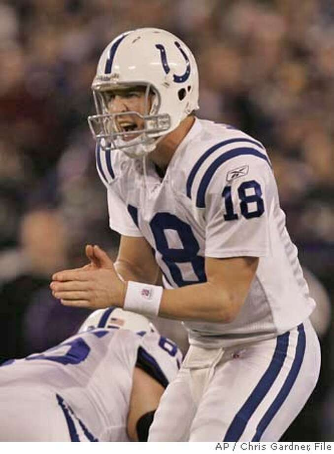 ** FOR USE AS DESIRED WITH SUPER BOWL XLI STORIES ** Indianapolis Colts quarterback Peyton Manning calls out at the line against the Baltimore Ravens during the AFC divisional playoff football game in Baltimore Saturday, Jan. 13, 2007. The Indianapolis Colts face the Chicago Bears in Super Bowl XLI in Miami on Sunday, Feb. 4, 2007. (AP Photo/Chris Gardner) ** FOR USE AS DESIRED WITH SUPER BOWL XLI STORIES ** Photo: Chris Gardner