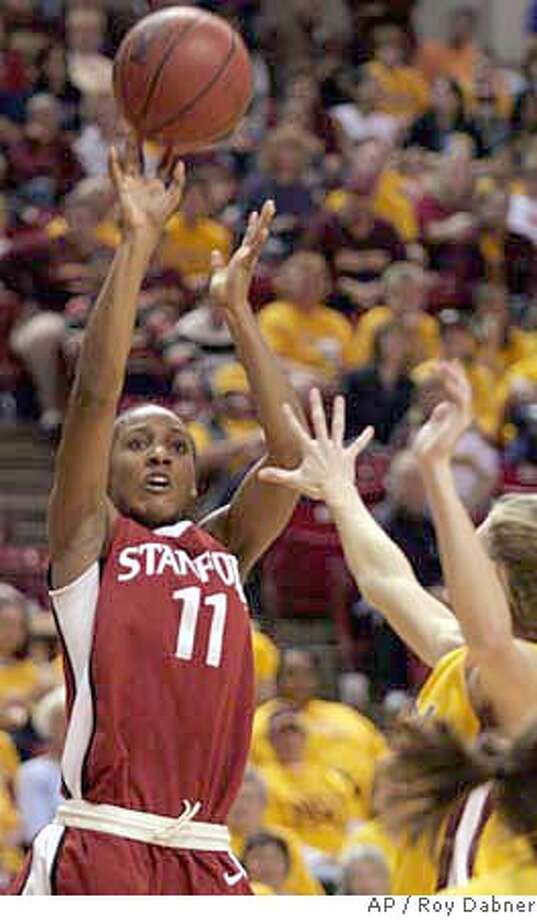 Stanford guard Candice Wiggins (11) shoots for two of her game high 30 points, to lead the Cardinal to a 73-65 win over Arizona State, in overtime, Saturday, Jan. 27, 2007, in Tempe, Ariz.(AP Photo/Roy Dabner) Photo: Roy Dabner