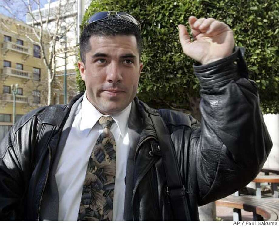 Bryan Wagner of Littleton, Colorado, leaves a federal courthouse in San Jose, Calif., Friday, Jan. 12, 2007. He plead guilty to two counts of conspiracy and identity theft. Wagner, a private investigator, was apparently at the bottom of a long chain of command involved in the probe that reached into Hewlett Packard's top ranks. (AP Photo/Paul Sakuma) Photo: PAUL SAKUMA