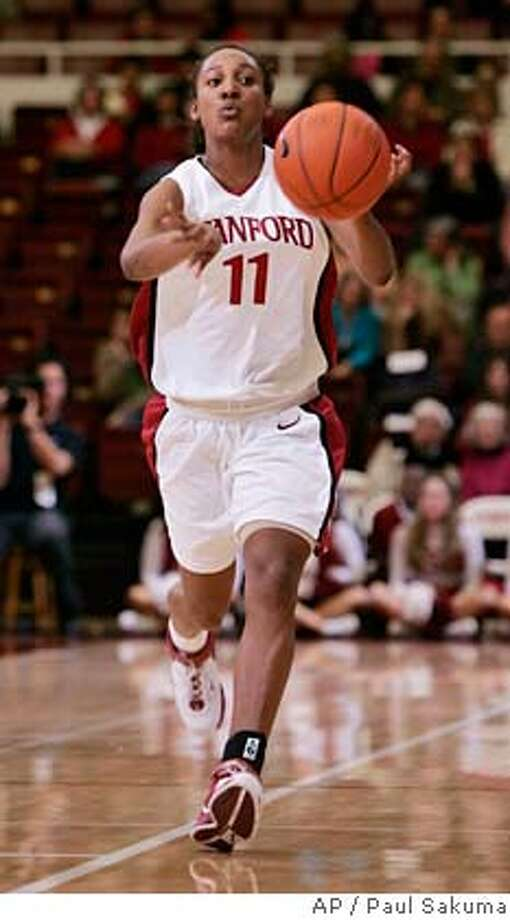 Stanford guard Candice Wiggins passes in the first half against Oregon during their NCAA basketball game in Stanford, Calif., Thursday, Jan. 18, 2007. Wiggins injured her ankle and was out the past few games. (AP Photo/Paul Sakuma) Photo: PAUL SAKUMA