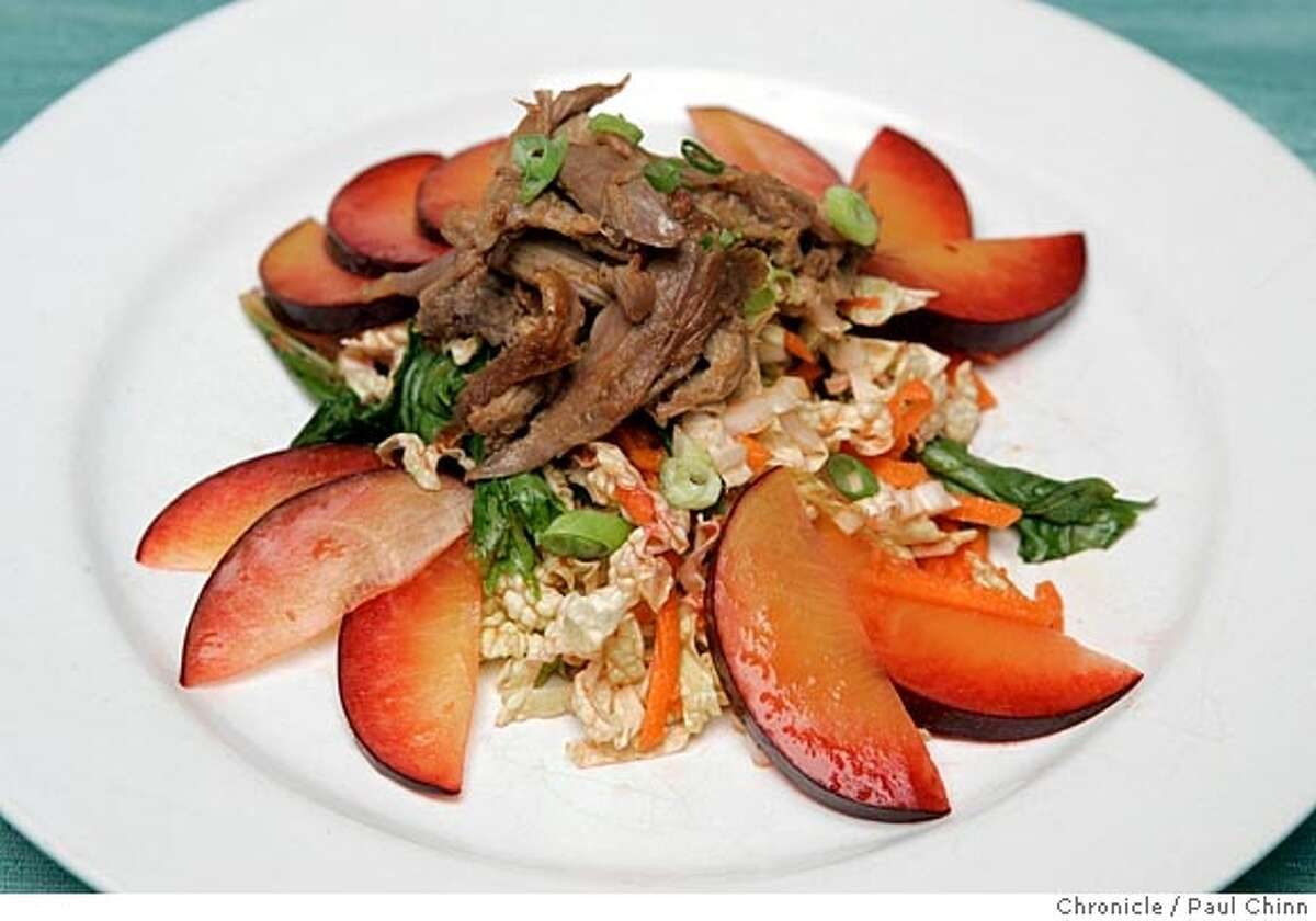 Duck and plum salad on 7/15/05 in San Francisco, Calif. PAUL CHINN/The Chronicle STYLING BY AMANDA GOLD