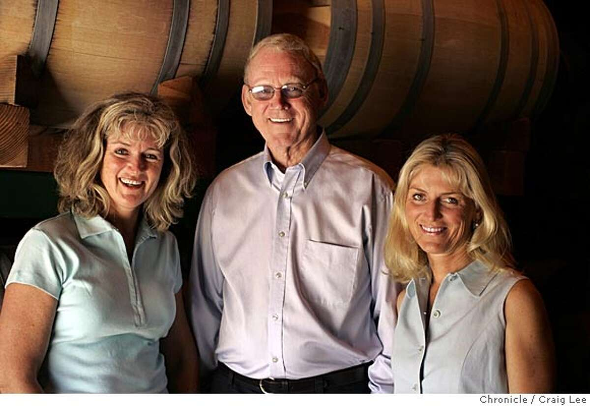 Photo of Dick Peterson (middle), an eccentric and an inventor, and the Peterson dynasty, Heidi Barrett Peterson (left), his winemaker daughter and Holly Peterson (right), his chef daughter. Event on 7/14/05 in Napa. Craig Lee / The Chronicle