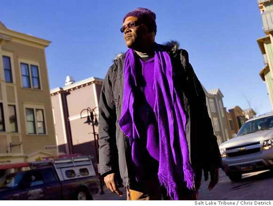 "Samuel L. Jackson on the scene at Sundance. He's in two films at the festival: ""Resurrecting the Champ"" and ""Black Snake Moan."" Salt Lake Tribune photo by Chris Detrick"