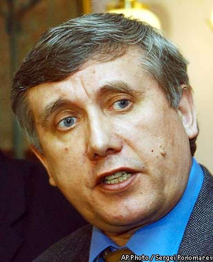 Leader of the Liberal Russia party Sergei Yushenkov seen a few hours before his killing, at a briefing on plans of his party to run in the coming parliamentary election later this year, in Moscow, Thursday, April 17, 2003. Liberal Russian lawmaker Sergei Yushenkov was shot to death Thursday near his apartment building in Moscow. (AP Photo / Sergei Ponomarev, Gazeta) Photo: SERGEI PONOMAREV