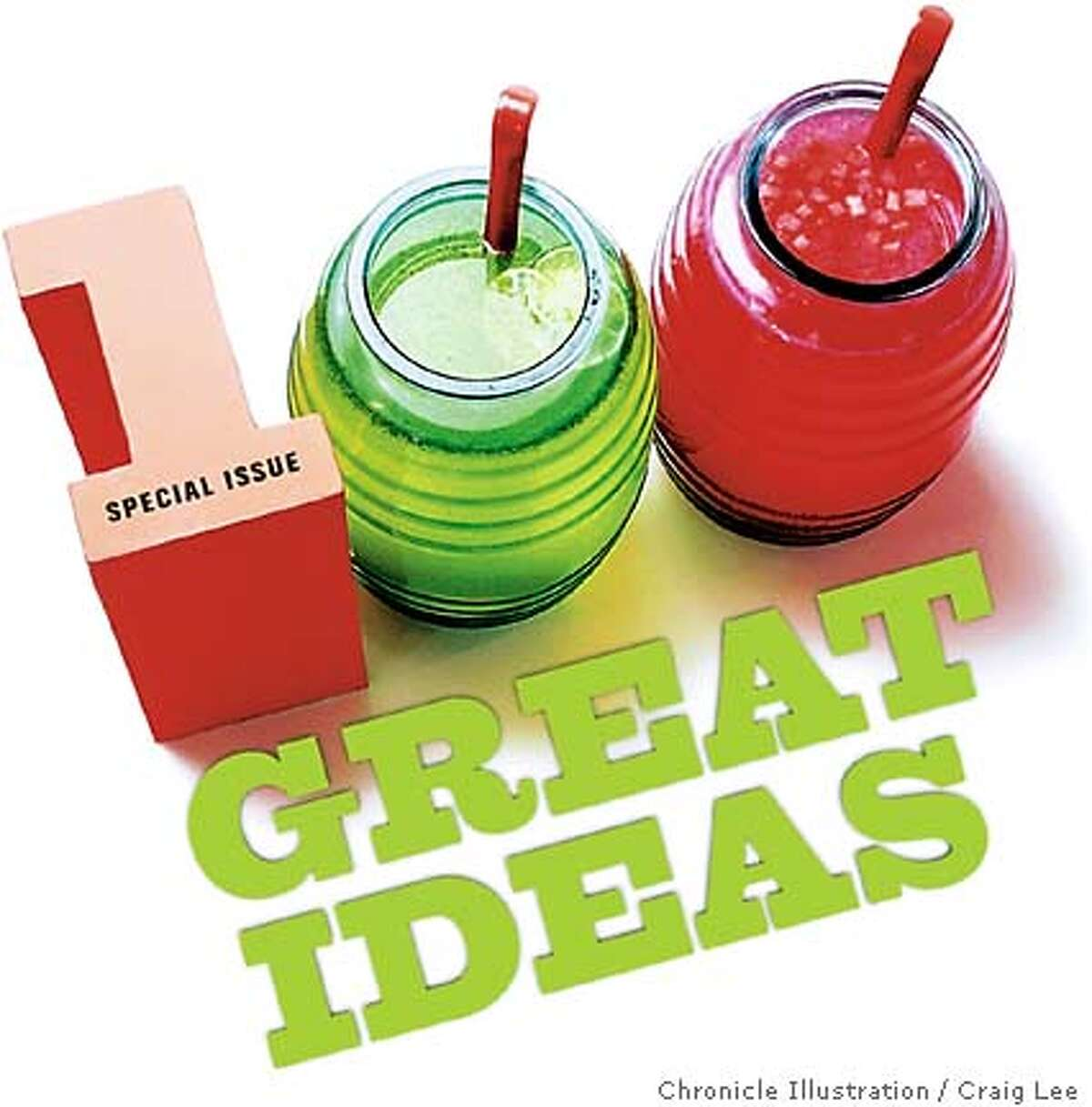 100 Great Ideas. Chronicle illustration by Craig Lee