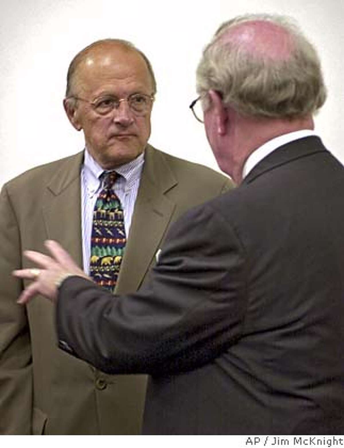 Rep. Sherwood Boehlert, R-N.Y., left, listens to Dr. Charles McQueary, undersecretary for Science and Technology of the Department of Homeland Security, Tuesday, Aug. 17, 2004, after they met with a panel at the Air Force Research Laboratory in Rome, N.Y. The longest serving Republican congressman in New York State is facing a primary battle against Dave Walrath of Auburn who came close to beating him in 2002. (AP Photo/Jim McKnight) FIVE OF FIVE