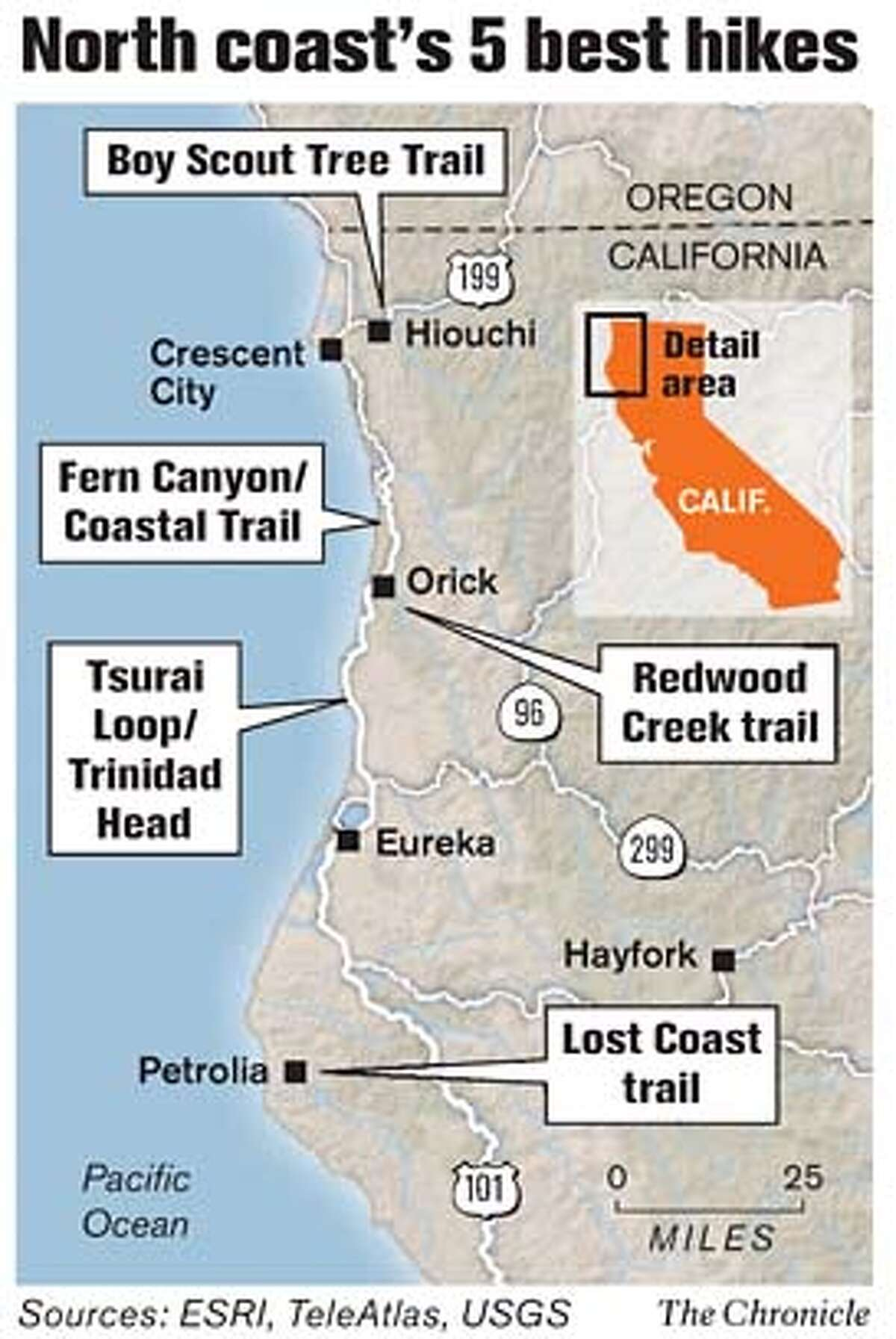 North Coast's 5 Best Hikes. Chronicle Graphic