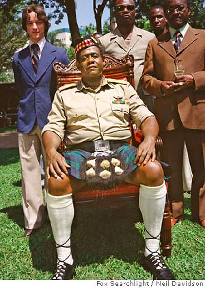 "This promotional photo released by Fox Searchlight shows Forest Whitaker as Ugandan President Idi Amin in a scene from ""The Last King of Scotland."" Whitaker was nominated for best actor for his role in the film as the nominations for the 79th annual Academy Awards were announced Tuesday, Jan. 23, 2007, in Beverly Hills, Calif. (AP Photo/ Fox Searchlight, Neil Davidson) UNDATED HANDOUT RELEASED BY FOXSEARCHLIGHT. Photo: NEIL DAVIDSON"