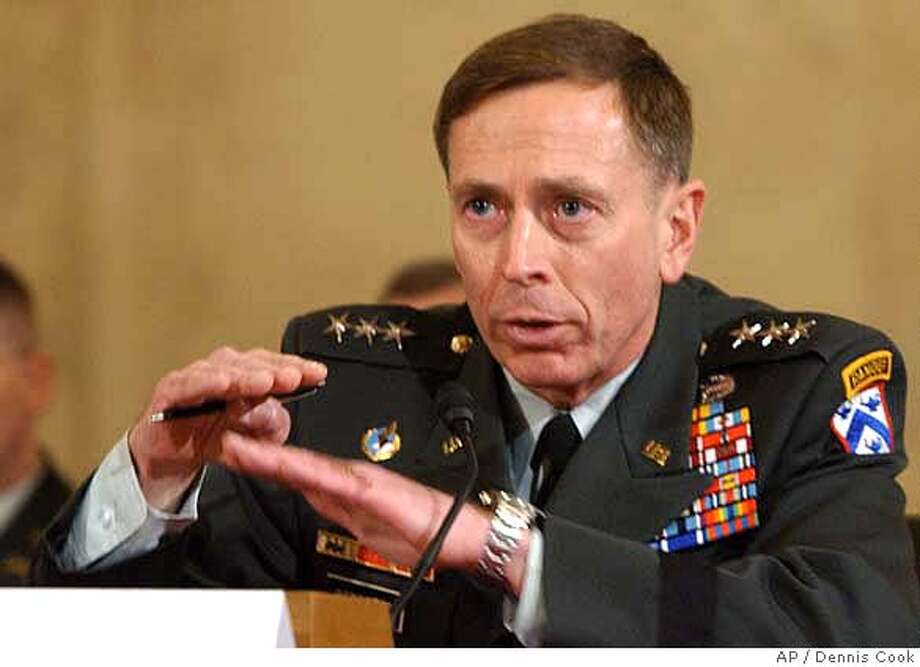 Lt. Gen. David Petraeus testifies on Capitol Hill in Washington, Tuesday, Jan. 23, 2007, before the Senate Armed Services Committee's confirmation hearing on his nomination to Multi-National Forces in Iraq. (AP Photo/Dennis Cook) Photo: DENNIS COOK
