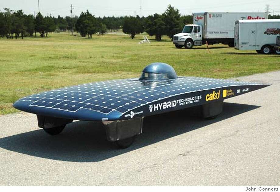 The car from UC Berkeley CalSol students, called the Beam Machine, will compete in the North American Solar Challenge. Credit: John Connors Photo: John Connors