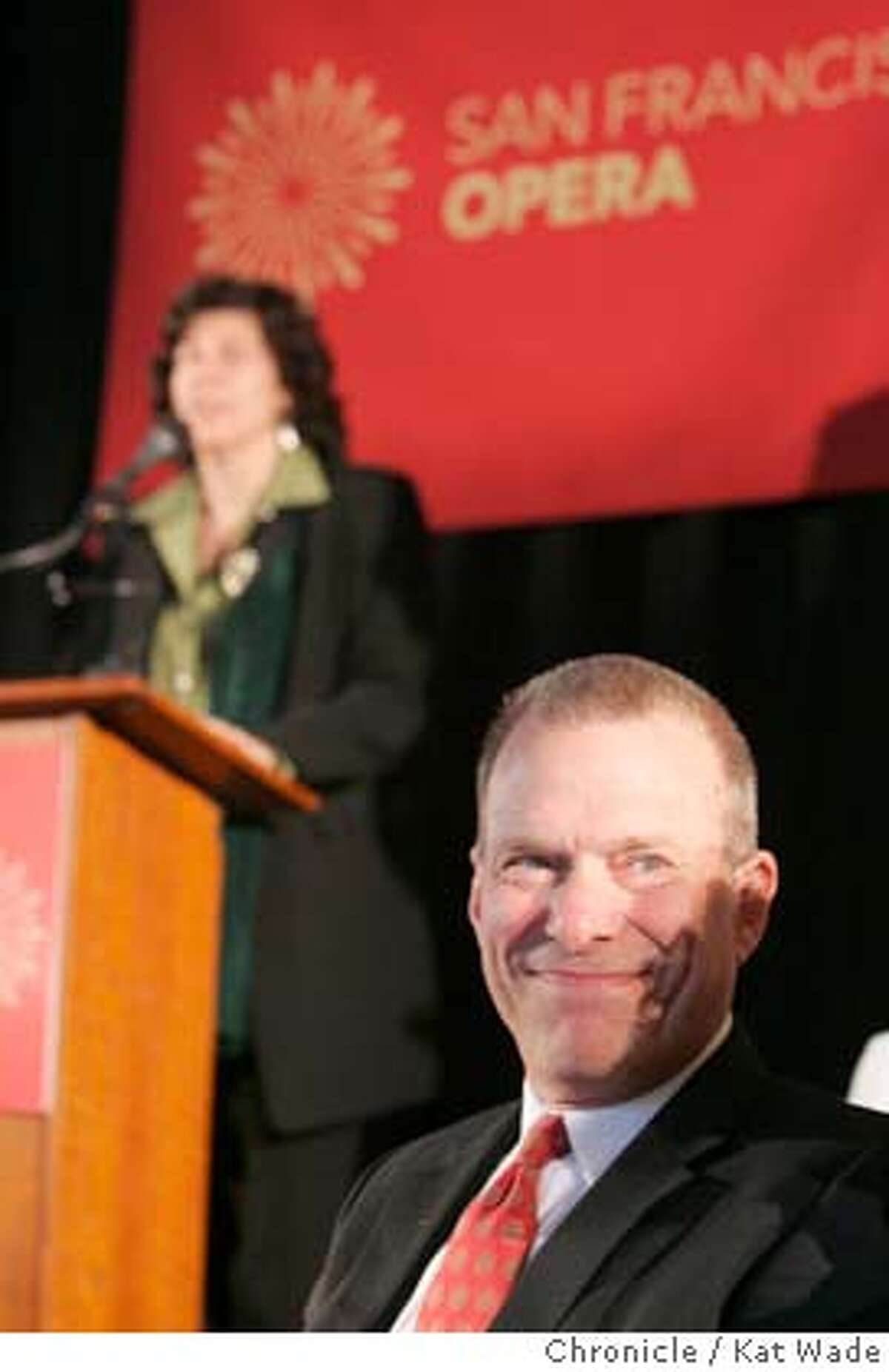OPERA23_051_KW_.jpg (L to R) Artistic Director Francesca Zambello addresses the press when San Francisco Opera general director David Gockley (foreground) announces the 85th season at a press conference on Monday January 22, 2007. Kat Wade/The Chronicle Mandatory Credit for San Francisco Chronicle and photographer, Kat Wade, Mags out