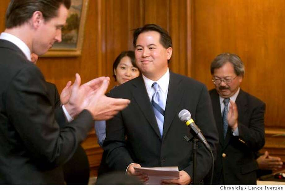 """ASSESSOR_0119.jpg_  San Francisco Mayor Gavin Newsom named Phil Ting as his choice for Assessor-Recorder for the City and County of San Francisco Friday. The Mayor said his experience gives him """"unique set of tools"""" to bring real reform to the office. By Lance Iversen/San Francisco Chronicle Photo: Lance Iversen"""