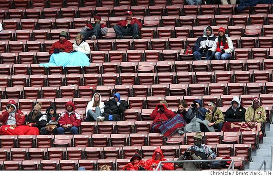 On the last home game, there were many empty seats at the stadium and after the Bills built a big lead, there were even fewer.  The 49ers lost their final home game of the season, 41-7 against the Buffalo Bills at Monster Park Sunday  Brant Ward 12/27/04 Photo: Brant Ward