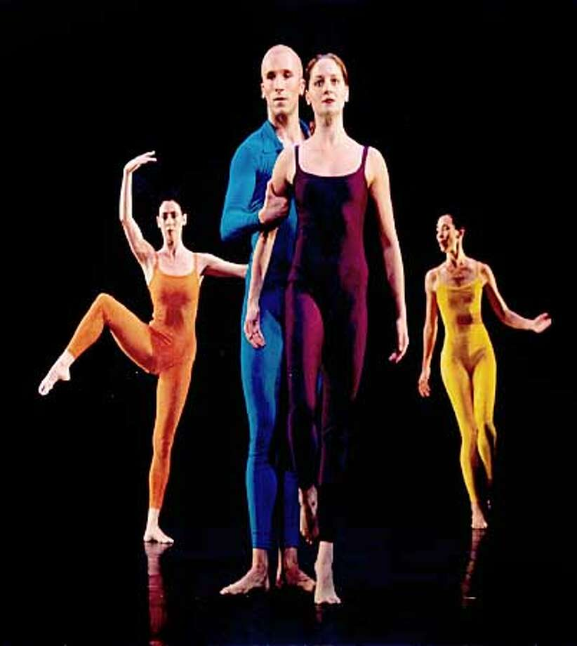 C�dric Andrieux and Jeannie Steele (foreground) perform with company members of the Merce Cunningham Dance Company in Suite for Five (Feb. 7), set to John Cage's Music for Piano, part of the 50th Anniversary Season of the Merce Cunningham Dance Company, February 7 & 8, 2003 in Zellerbach Hall. PHOTOS:� TONY DOUGHERTY HANDOUT PHOTO Photo: HANDOUT