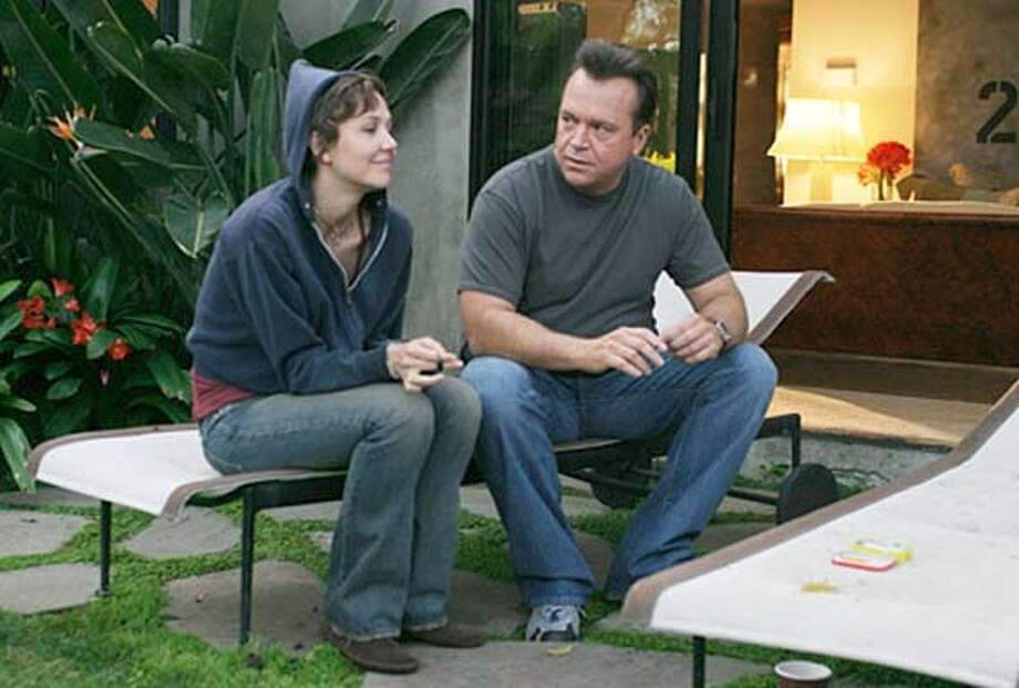 "Still from the film ""Happy Endings"" and pictures actors Tom Arnold and Maggie Gyllenhaal."