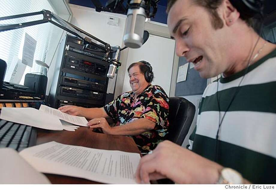 """nbksvy_069_el.JPG  """"Smokin Jo"""" air personality Joe Herrechaft comes into the studio to prepare for his show. In the foreground right is Jeff Gilbert This is a Friday section feature story on KSVY, a relatively new community radio station serving the Sonoma Valley. The specific appointment is for a morning show called """"Stan's Clan,'' hosted by Stan Jackson, where he plays tunes and has local guests.  Event on 6/15/05 in Sonoma Eric Luse / The Chronicle Photo: Eric Luse"""