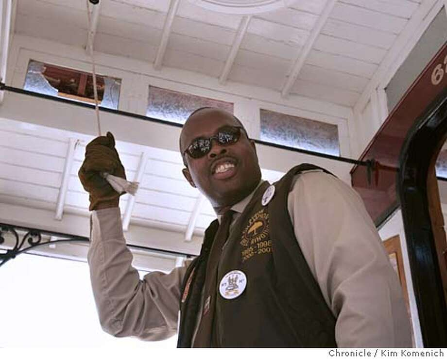 Byron Scott does his ringing during the professional competition. Scott won the contest.  The 43rd Annual Cable Car Bell-Ringing Contest is held at Union Square.  (7/14/05)  San Francisco Chronicle Photo by Kim Komenich Photo: Kim Komenich