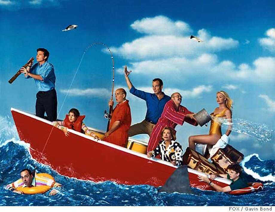 """The cast of """"Arrested Development"""", nominated for Best Comedy Series at the 57th annual Primetime Emmy Awards announced July 14, 2005, are seen in this undated publicity photo. The Emmys will be presented September 18, 2005. Boat, L-R: Jason Bateman, Alia Shawkat, Jeffrey Tambor, Will Arnett, David Cross, Jessica Walter, and Portia de Rossi. Bottom left: Tony Hale. Bottom right: Michael Cera. NO ARCHIVES REUTERS/Gavin Bond/FOX/Handout Photo: HO"""