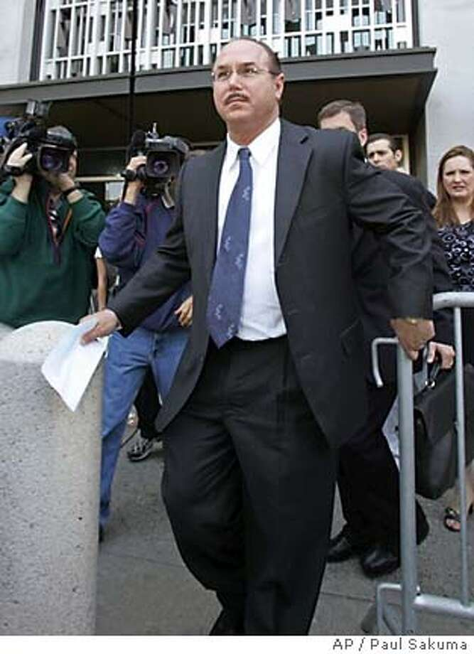 BALCO founder Victor Conte leaves a federal courthouse in San Francisco, Friday, July 15, 2005. Conte pleaded guilty Friday to steroid distribution and money laundering charges in a deal with prosecutors, making it much less likely that top athletes such as Marion Jones and Tim Montgomery may be forced to testify about alleged doping. (AP Photo/Paul Sakuma) Photo: PAUL SAKUMA