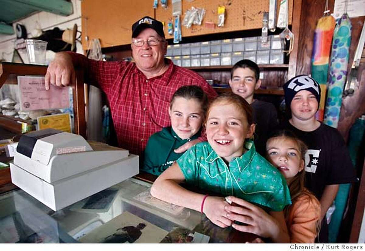 Rich Deeney and a small group of his garnd kids. (RtoL) Julia Dexter,Abbey Donovan,Will Dexter,Sara Dexter and Cody Dexter. In the General store. The Deeney family is selling 53 acres of ranchland south of Half Moon Bay that includes a stretch of private beach. We're going to take a look at the history of the property, which was purchased 104 years ago by Rich Deeney's grandfather. Rich Deeney himself has lived on the land for all but two years of his life. SATURDAY, DECEMBER 30, 2006 KURT ROGERS/THE CHRONICLE HALF MOON BAY THE CHRONICLE SFC MARTINSBEACH_0081_kr.jpg MANDATORY CREDIT FOR PHOTOG AND SF CHRONICLE / -MAGS OUT