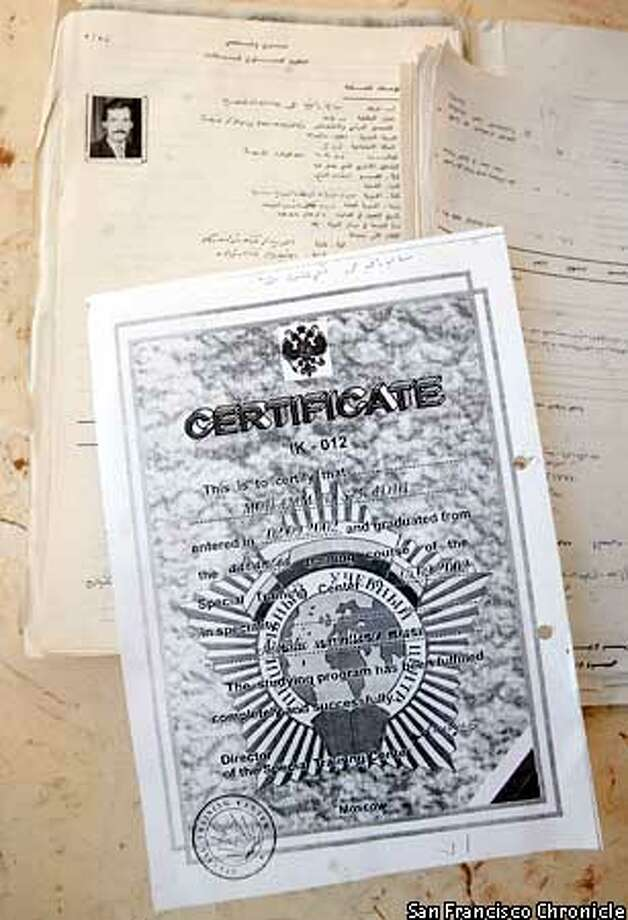 IRAQ DOC 1- Pages from the personnel file of an Iraqi agent, with a certificate of completion of an electronic eavesdropping course he took in Moscow.