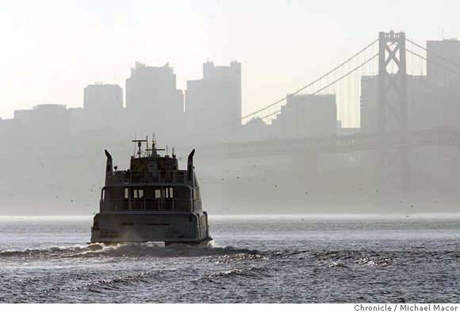 poll24_064_mac.jpg An Oakland/ Alameda Ferry boat leaves the Oakland Estuary enroute to San Francisco. Bay Area residents who are mad about being stuck in freeway traffic want government to beef up ferry service to make their commutes easier-and to have around the next time a big earthquake wrecks the Bay Bridge, according to a poll by the Bay Area council. Event in Oakland, Ca on 2/24/06 Photo by : Michael Macor/ San Francisco Chronicle  Ran on: 02-24-2006  An Oakland-Alameda ferry heads for San Francisco. After the earthquake in 1989, ferries transported thousands of commuters.Ran on: 02-28-2006  An Oakland-Alameda ferryboat heads for San Francisco.Ran on: 02-28-2006  Ran on: 04-13-2006  An Oakland-Alameda ferry boat leaves the Oakland Estuary en route to San Francisco on the other side of the bay. Mandatory credit for Photographer and San Francisco Chronicle/ - Magazines Out Photo: Michael Macor