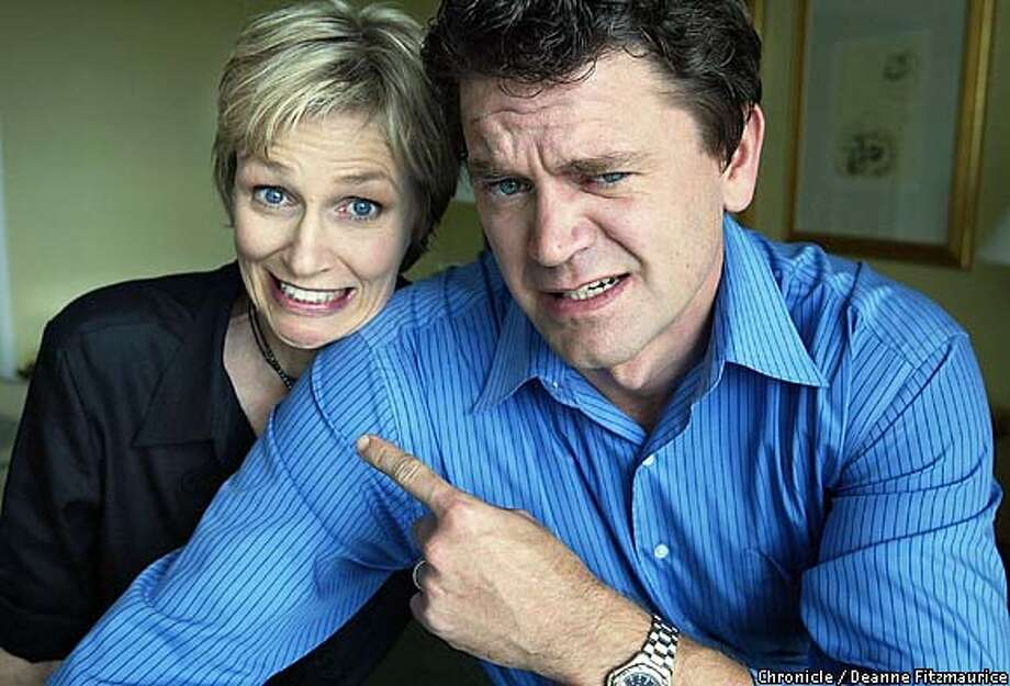"Actors Jane Lynch and John Michael Higgins are in town promoting Christopher Guest's ""Mighty Wind"" .  CHRONICLE PHOTO BY DEANNE FITZMAURICE Photo: Deanne Fitzmaurice"