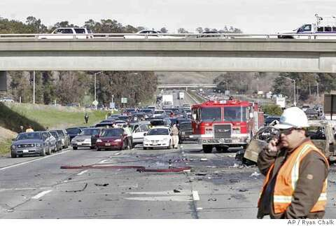 VACAVILLE / 3 killed, 8 hurt in I-80 crashes after car jumps