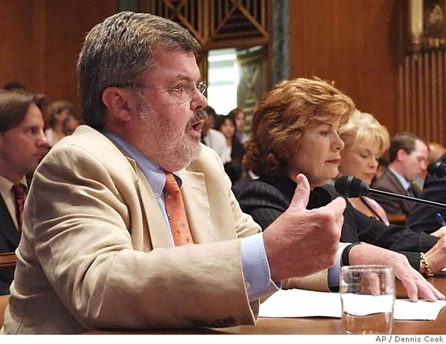 Kenneth Tomlinson, Corporation for Public Broadcasting Corporation Board Chairman, testifies on funding for public broadcasting on Capitol Hill Monday, July 11, 2005, before the Senate Appropriations Labor, Health and Human Services Subcommittee. In the background are Patricia Harrison, center, President and CEO, Corporation for Public Broadcasting, and Public Broadcasting Service President and CEO Pat Mitchell. (AP Photo/Dennis Cook) Photo: DENNIS COOK