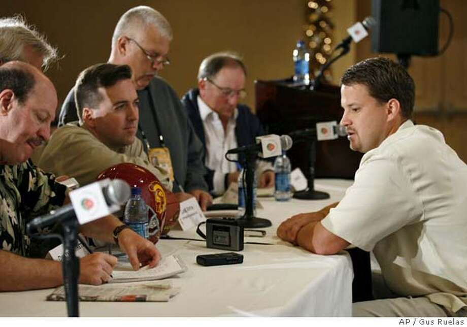 Southern California's offensive coordinator Lane Kiffin fields questions on the upcoming Rose Bowl football game against Michigan, during the offensive team's press conference, Thursday, Dec. 28, 2006 in Beverly Hills, Calf. (AP Photo/Gus Ruelas) Photo: Gus Ruelas
