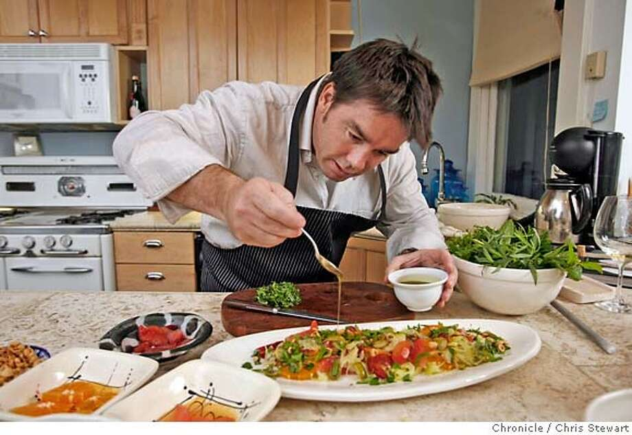 Chef17_0041_cs.jpg  Mark Sullivan adds a drizzle of olive oil to his salad. Sullivan, chef/owner of Village Pub, at his San Francisco home preparing one of his favorite recipes, Fennel & Citrus Salad with Olives and Parmesan, January 8, 2007. Sullivan opens Spruce, his new restaurant, in early April.  Chris Stewart / The Chronicle MANDATORY CREDIT FOR PHOTOG AND SF CHRONICLE/ -MAGS OUT Photo: Chris Stewart