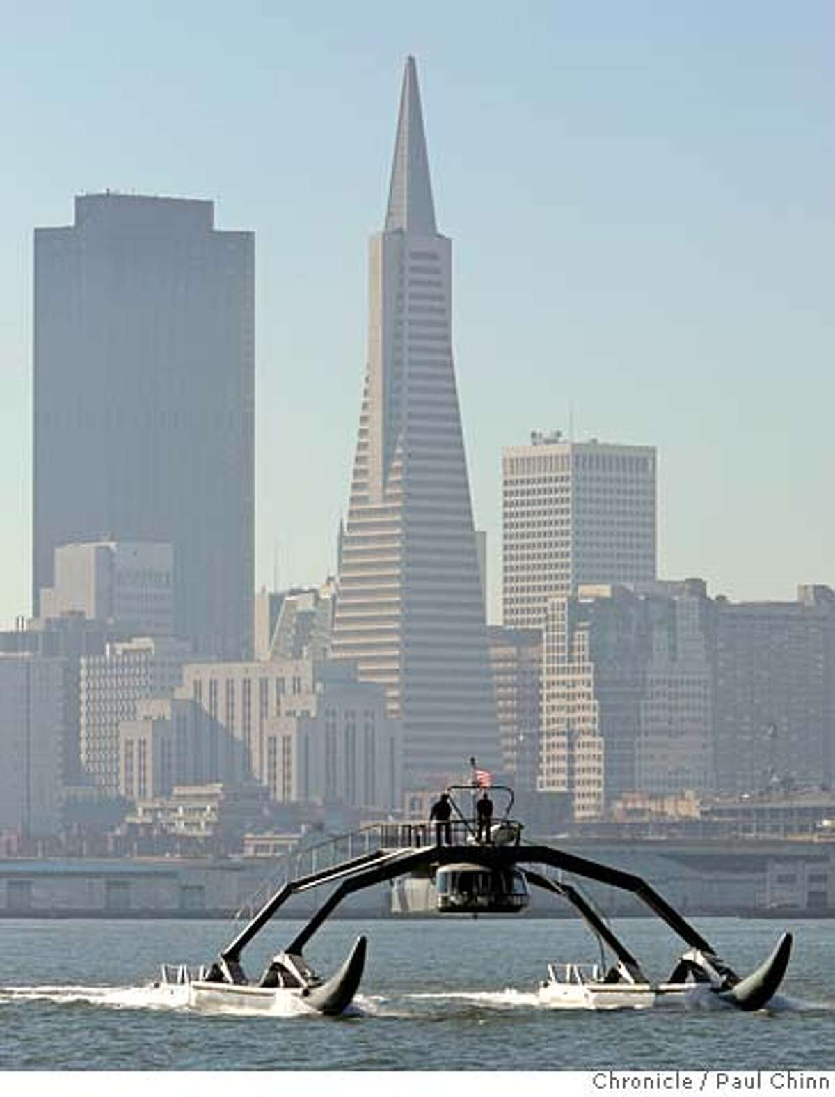 The Proteus, a prototype Wave Adaptive Modular Vessel, during a test run on the bay in San Francisco, Calif. on Thursday, Jan. 18, 2007. The WAM-V, designed and created by Ugo Conti, is 100-feet long and is capable of crossing the ocean. PAUL CHINN/The Chronicle **Ugo Conti