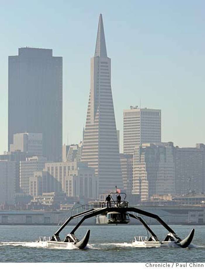 The Proteus, a prototype Wave Adaptive Modular Vessel, during a test run on the bay in San Francisco, Calif. on Thursday, Jan. 18, 2007. The WAM-V, designed and created by Ugo Conti, is 100-feet long and is capable of crossing the ocean.  PAUL CHINN/The Chronicle  **Ugo Conti Photo: PAUL CHINN