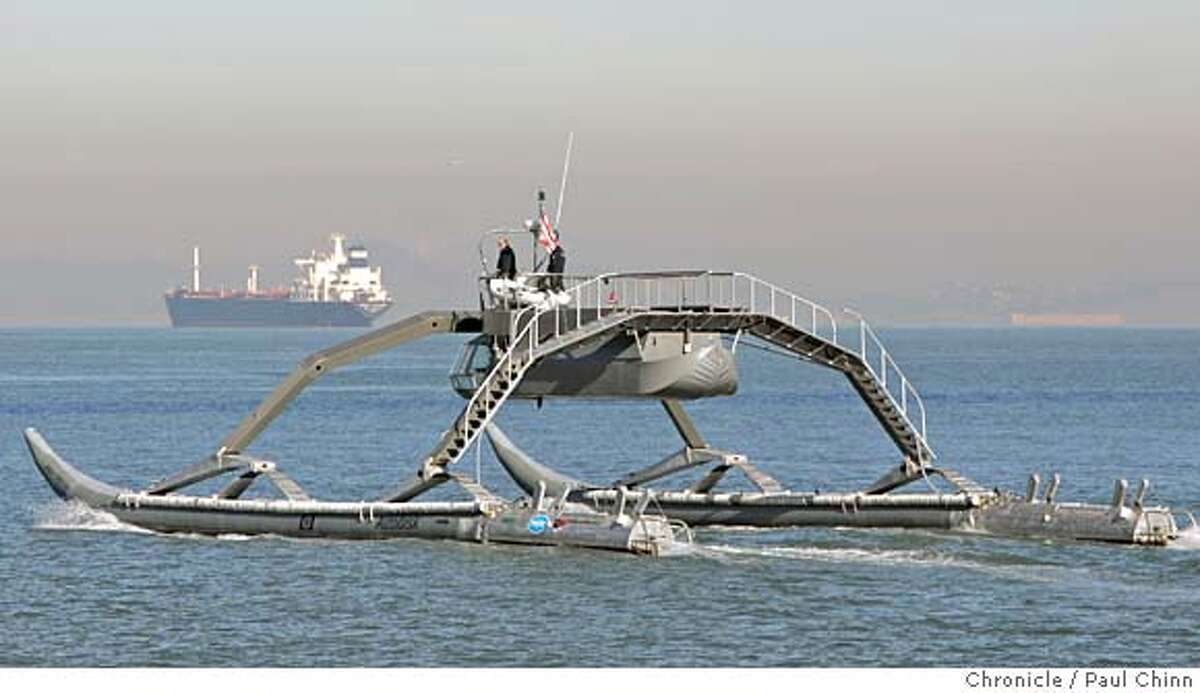 The Proteus, a prototype Wave Adaptive Modular Vessel, went for a test run on the bay in San Francisco, Calif. on Thursday, Jan. 18, 2007. The WAM-V, designed and created by Ugo Conti, is 100-feet long and is capable of crossing the ocean. PAUL CHINN/The Chronicle **Ugo Conti