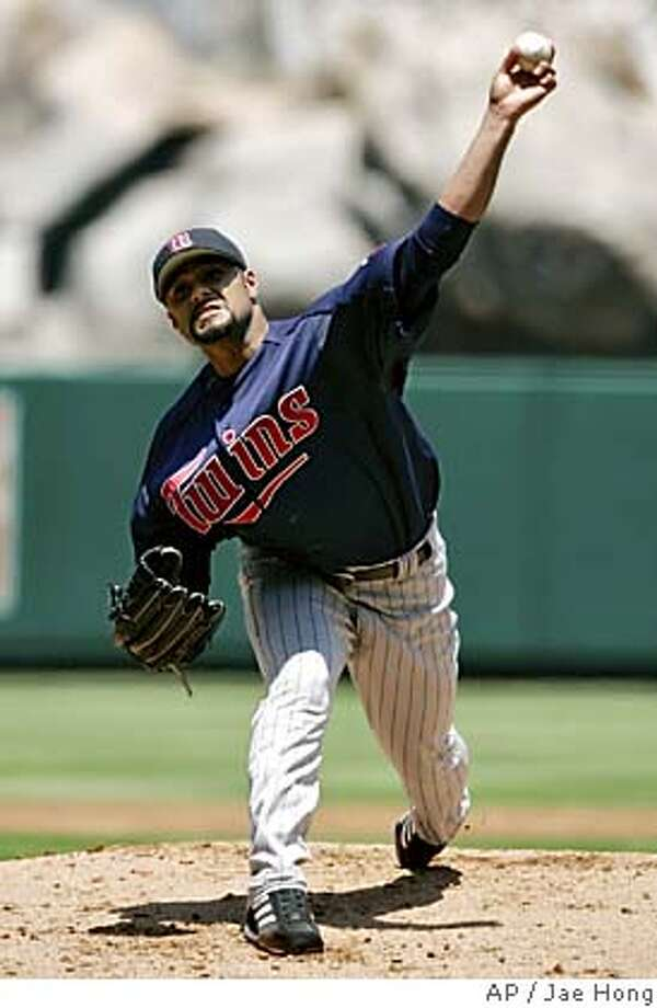 Minnesota Twins' Johan Santana throws to the plate during the first inning against the Los Angeles Angels, Wednesday, July 6, 2005, in Anaheim, Calif. (AP Photo/Jae Hong) Photo: JAE HONG