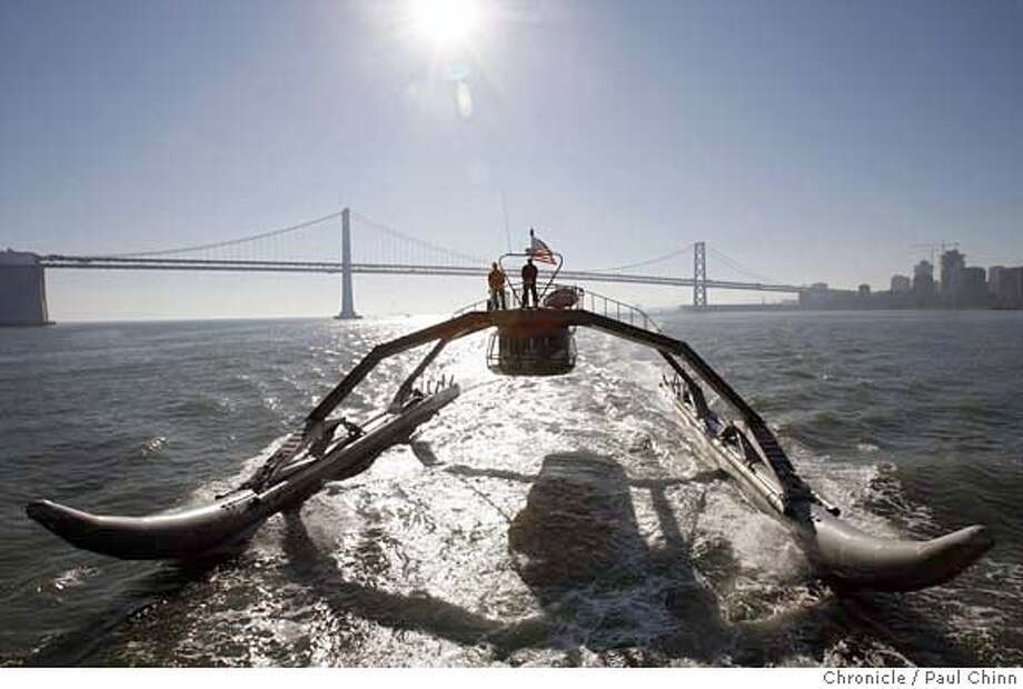 The Proteus, a prototype Wave Adaptive Modular Vessel, during a test run on the bay in San Francisco, Calif. on Thursday, Jan. 18, 2007. The WAM-V, designed and created by Ugo Conti, is 100-feet long and is capable of crossing the ocean.  PAUL CHINN/The Chronicle  **Ugo Conti MANDATORY CREDIT FOR PHOTOGRAPHER AND S.F. CHRONICLE/ - MAGS OUT Photo: PAUL CHINN